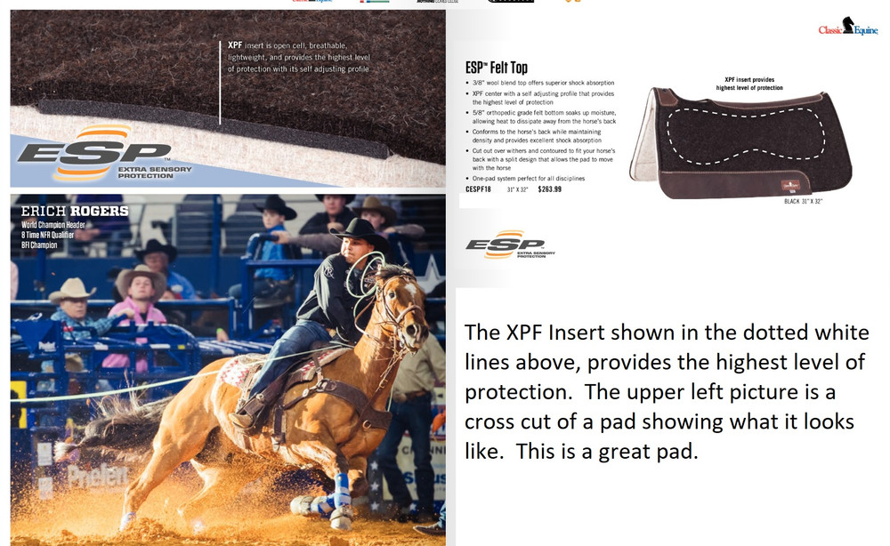 The XPF insert shown in the dotted white lines in the picture to the left, provides the highest level of protection for your horse.  The picture in the upper left is a cross cut of the pad showing what it looks like internally.  This is a great pad!!!