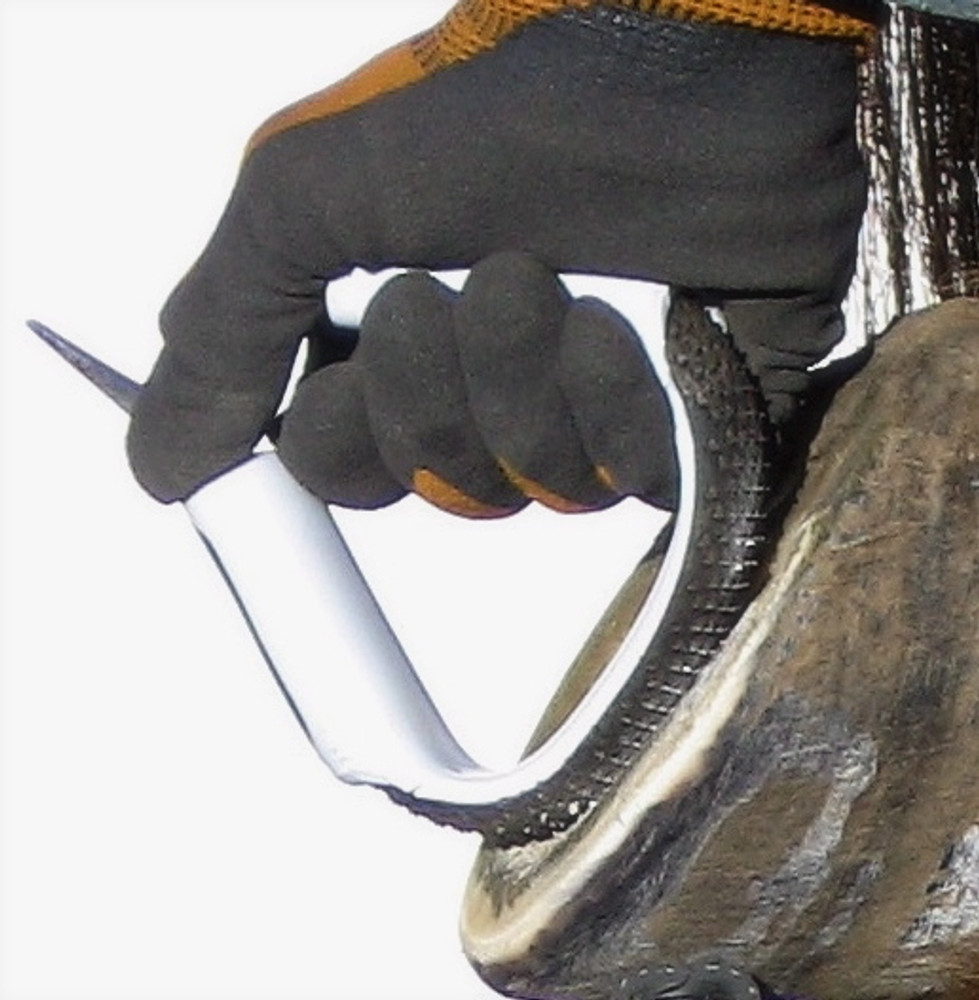 functions as a hoof knife, but is safer to use  Pick end is sharpened for use as a hoof pick and scraper