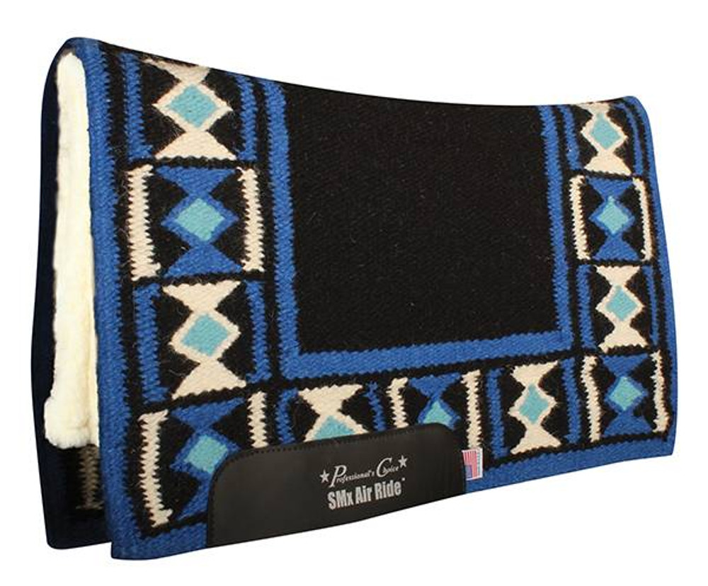 The Professional's Choice Hourglass Comfort Fit Heavy Duty Air Ride Western Saddle Pad in Black / Royal with Merino Wool bottom