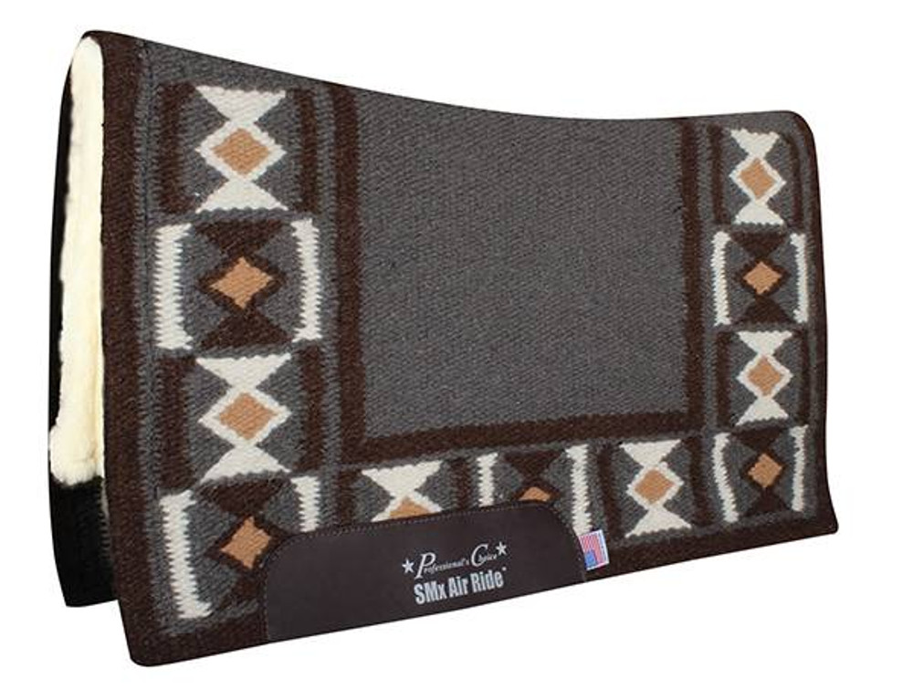 The Professional's Choice Hourglass Comfort Fit Heavy Duty Air Ride Western Saddle Pad in Charcoal / Chocolate with Merino Wool bottom