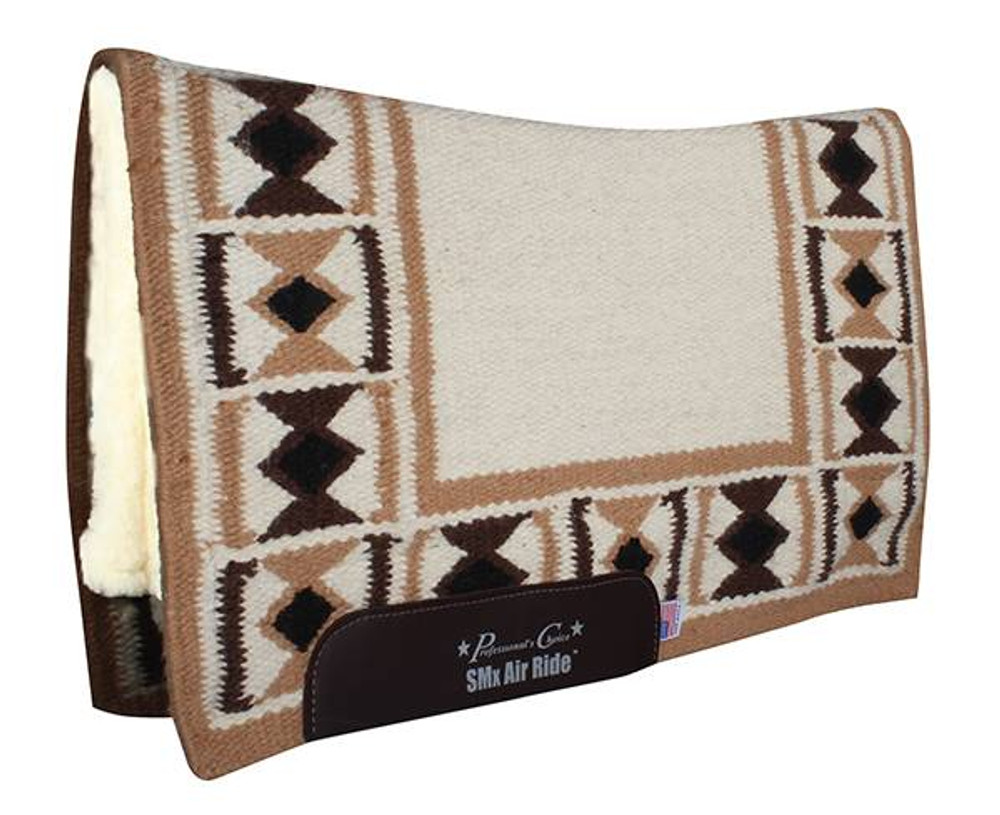 The Professional's Choice Hourglass Comfort Fit Heavy Duty Air Ride Western Saddle Pad in Cream / Tan with Merino Wool bottom