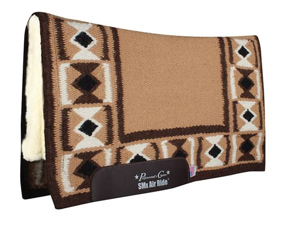 The Professional's Choice Hourglass Comfort Fit Heavy Duty Air Ride Western Saddle Pad in Tan / Chocolate with Merino Wool bottom