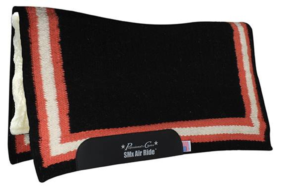 The Professional's Choice Border Comfort Fit Heavy Duty Air Ride Western Saddle Pad in Black / Melon with Merino Wool bottom