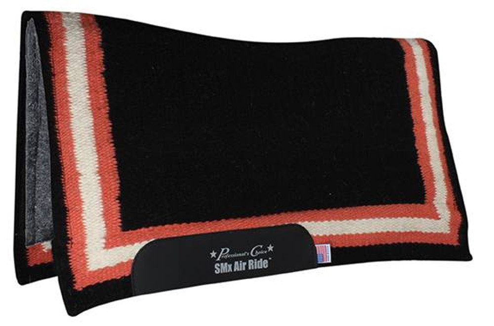 The Professional's Choice Border Comfort Fit Heavy Duty Air Ride Western Saddle Pad in Black / Melon with Felt bottom