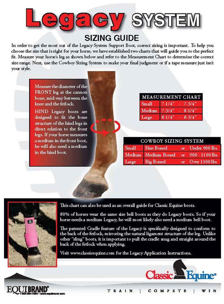 Classic Equine Legacy Support Boots Sizing Instructions