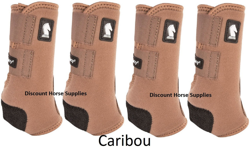 Caribou Classic Equine Legacy2 Front & Hind Support Boots. Made of 100% virgin perforated neoprene that allows the leg to breathe and heat to escape so your horse's legs stay cooler. A patented Cradle Fetlock System provides maximum support and protection to the lower limb by a double layer of shock absorbing neoprene. An extended layer of tough, bulletproof material fitted on the cup area ensures durability.