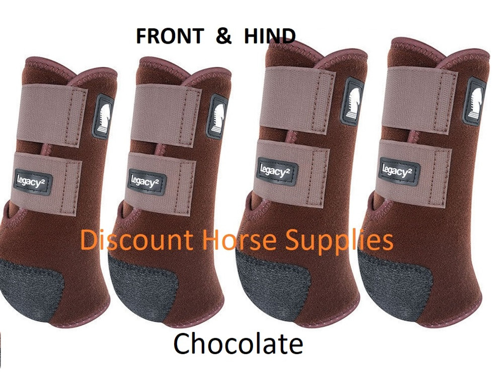 Chocolate Classic Equine Legacy2 Front & Hind Support Boots.  Made of 100% virgin perforated neoprene that allows the leg to breathe and heat to escape so your horse's legs stay cooler. A patented Cradle Fetlock System provides maximum support and protection to the lower limb by a double layer of shock absorbing neoprene. An extended layer of tough, bulletproof material fitted on the cup area ensures durability.
