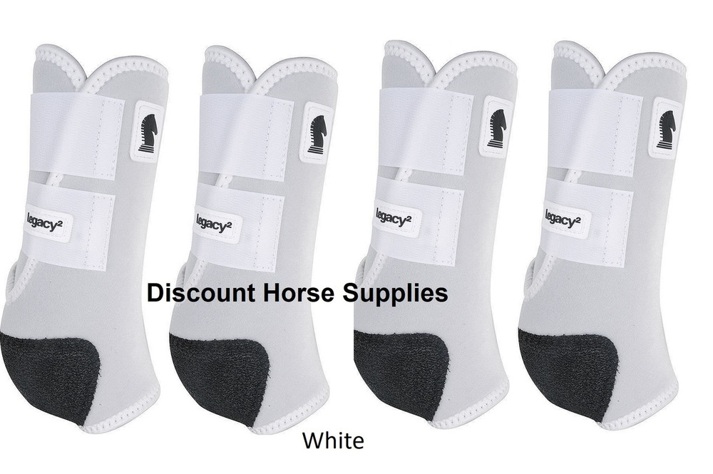 White Classic Equine Legacy2 Front & Hind Support Boots in White.  Made of 100% virgin perforated neoprene that allows the leg to breathe and heat to escape so your horse's legs stay cooler. A patented Cradle Fetlock System provides maximum support and protection to the lower limb by a double layer of shock absorbing neoprene. An extended layer of tough, bulletproof material fitted on the cup area ensures durability.