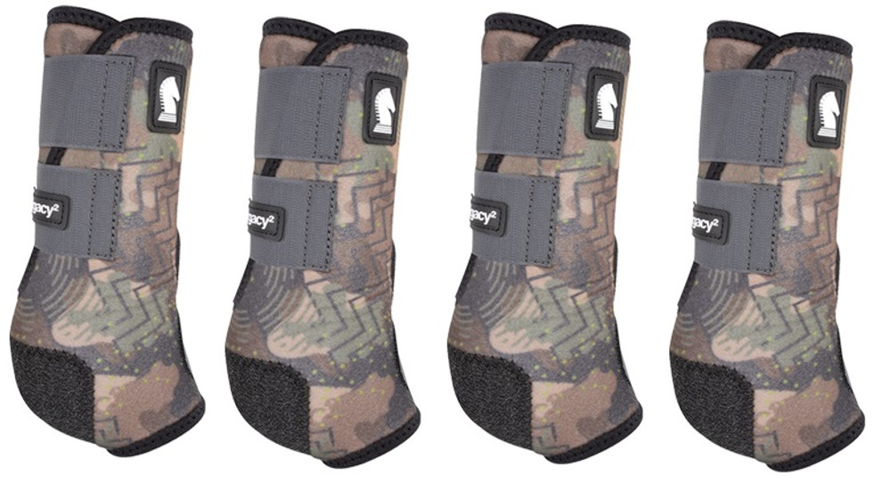 Limited Edition CAMO.  Classic Equine Legacy2 Front & Hind Support Boots.  Made of 100% virgin perforated neoprene that allows the leg to breathe and heat to escape so your horse's legs stay cooler. A patented Cradle Fetlock System provides maximum support and protection to the lower limb by a double layer of shock absorbing neoprene. An extended layer of tough, bulletproof material fitted on the cup area ensures durability.