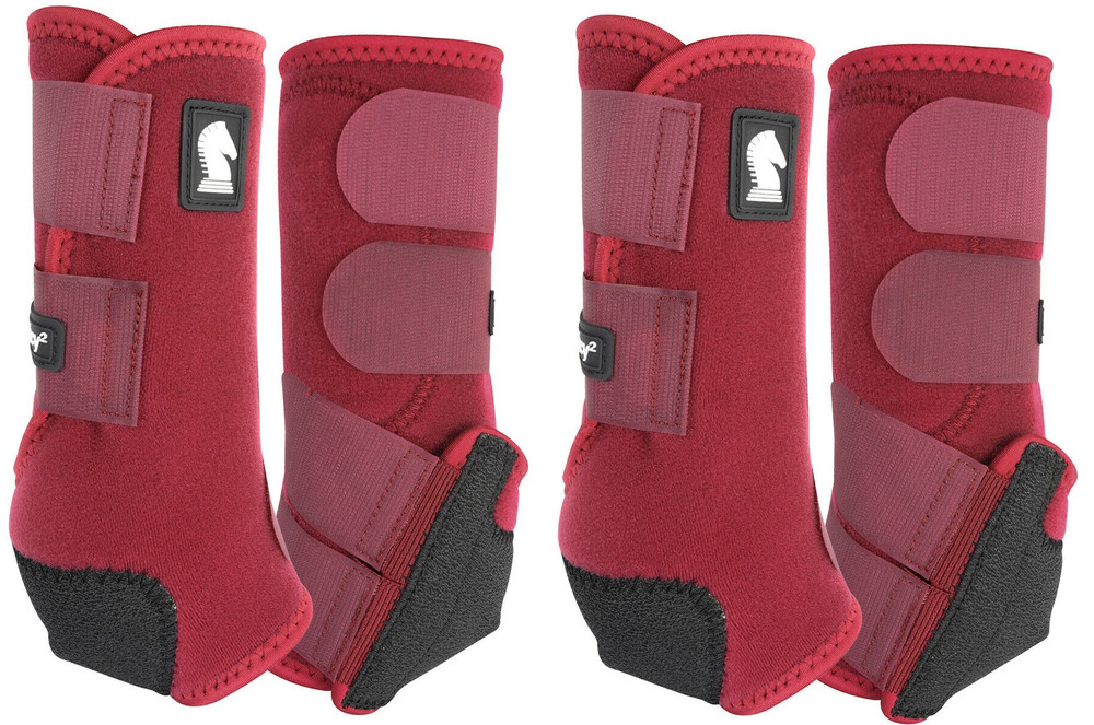 Merlot Classic Equine Legacy2 Front & Hind Support Boots.  Made of 100% virgin perforated neoprene that allows the leg to breathe and heat to escape so your horse's legs stay cooler. A patented Cradle Fetlock System provides maximum support and protection to the lower limb by a double layer of shock absorbing neoprene. An extended layer of tough, bulletproof material fitted on the cup area ensures durability.