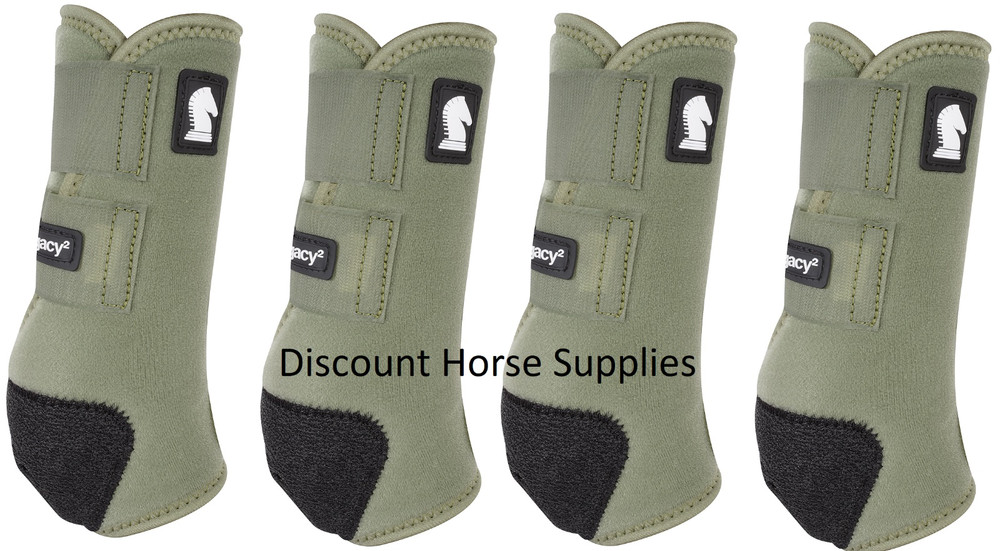 Olive Classic Equine Legacy2 Front & Hind Support Boots.  Made of 100% virgin perforated neoprene that allows the leg to breathe and heat to escape so your horse's legs stay cooler. A patented Cradle Fetlock System provides maximum support and protection to the lower limb by a double layer of shock absorbing neoprene. An extended layer of tough, bulletproof material fitted on the cup area ensures durability.