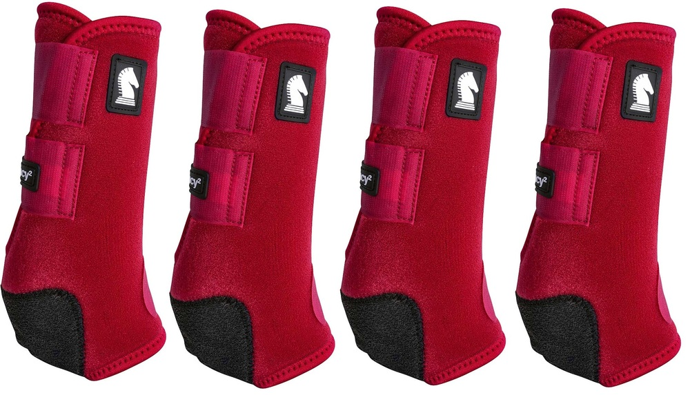 Crimson Red Classic Equine Legacy2 Front & Hind Support Boots.  Made of 100% virgin perforated neoprene that allows the leg to breathe and heat to escape so your horse's legs stay cooler. A patented Cradle Fetlock System provides maximum support and protection to the lower limb by a double layer of shock absorbing neoprene. An extended layer of tough, bulletproof material fitted on the cup area ensures durability.