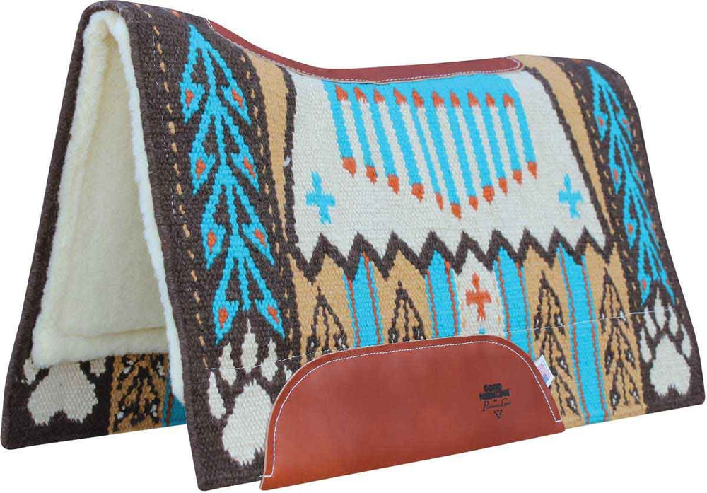 """BearPaw Marigold;  Custom designed New Zealand wool hand-woven blanket top. Contoured with leather reinforced spine and wither. Air Ride shock-absorbing insert for impact protection and comfort. 3/4"""" core. High-quality merino wool bottom protects and wicks away moisture."""