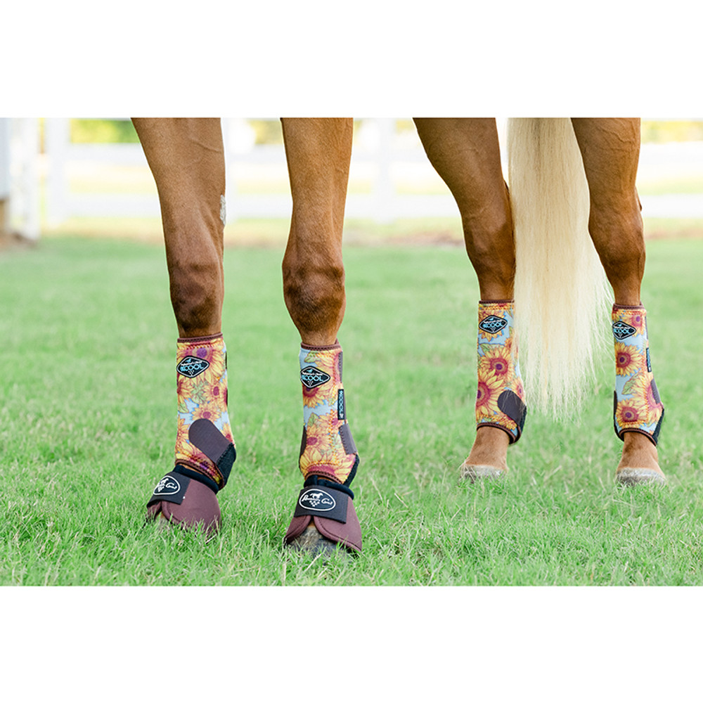 Professional's Choice Brrr 2XCOOL Sports Medicine Boot Value 4-PACK - Limited Edition Sunflower Medium.  Includes front and rear boots; bells not included but available for purchase separately.