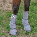 Here is a set of grey Cashel Leg Guards shown on a horse.  Leg Guards are used to bring comfort to your horse during fly season; they also help reduce chances of leg injury and hoof abscess caused from deep bruising caused by your horse popping it's leg on the ground to remove flies.