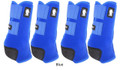 Blue Classic Equine Legacy2 Front & Hind Support Boots.  Made of 100% virgin perforated neoprene that allows the leg to breathe and heat to escape so your horse's legs stay cooler. A patented Cradle Fetlock System provides maximum support and protection to the lower limb by a double layer of shock absorbing neoprene. An extended layer of tough, bulletproof material fitted on the cup area ensures durability.