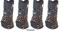 Cheetah Classic Equine Legacy Front & Hind Support Boots.  Made of 100% virgin perforated neoprene that allows the leg to breathe and heat to escape so your horse's legs stay cooler. A patented Cradle Fetlock System provides maximum support and protection to the lower limb by a double layer of shock absorbing neoprene. An extended layer of tough, bulletproof material fitted on the cup area ensures durability.