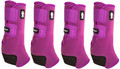 Plum Classic Equine Legacy2 Front & Hind Support Boots.  Made of 100% virgin perforated neoprene that allows the leg to breathe and heat to escape so your horse's legs stay cooler. A patented Cradle Fetlock System provides maximum support and protection to the lower limb by a double layer of shock absorbing neoprene. An extended layer of tough, bulletproof material fitted on the cup area ensures durability.