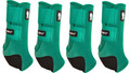 Emerald Green Classic Equine Legacy2 Front & Hind Support Boots.  Made of 100% virgin perforated neoprene that allows the leg to breathe and heat to escape so your horse's legs stay cooler. A patented Cradle Fetlock System provides maximum support and protection to the lower limb by a double layer of shock absorbing neoprene. An extended layer of tough, bulletproof material fitted on the cup area ensures durability.