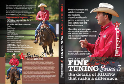 Andrea Fappani Fine Tuning Series 3 Horse & Rider Training DVD. Your training, showing, and plan for developing a successful show career will greatly improve with this comprehensive, easy to follow and understand instruction program. This is the 3rd DVD set of his four part series.