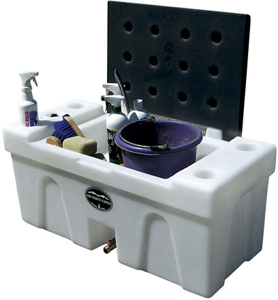 High Country Plastic Bench Water Caddie, Blue Lid.  A great choice to bring water from home.
