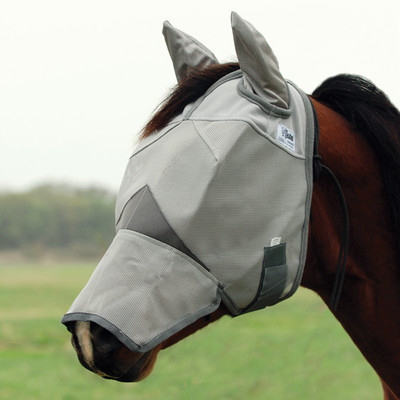 Cashel Crusader Fly Mask Long with Ears in traditional grey