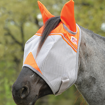 Cashel Animal Rescue Crusader Premium Fly Mask in Standard with Ears Style; color Orange