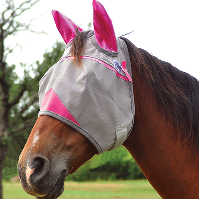 Cashel Animal Rescue Crusader Premium Fly Mask in Standard with Ears Style; color Hot Pink