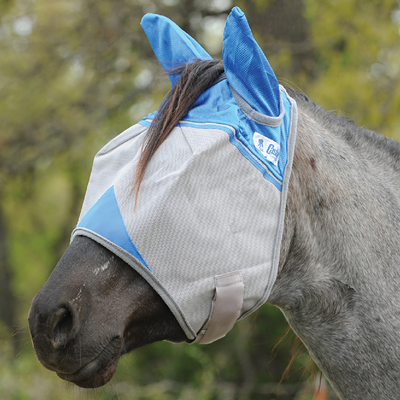 Cashel Wounded Warrior Crusader Premium Fly Mask in Standard with Ears Style; color blue