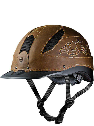 This is our favorite Troxel helmet and the one we personally use.  The Troxel Cheyenne in brown.  This is a top of the line Troxel Helmet and uses SureFit Pro and FlipFold technology.  Provides a low profile, sleek look.  incorporates six mexh covered vents and is ASTM/SEI certified.