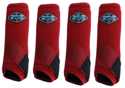 Professional's Choice Brrr 2XCOOL Sports Medicine Boot Value 4-PACK - Crimson Red Small.  Includes front and rear boots.