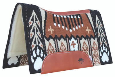 """BearPaw Raven;  Custom designed New Zealand wool hand-woven blanket top. Contoured with leather reinforced spine and wither. Air Ride shock-absorbing insert for impact protection and comfort. 3/4"""" core. High-quality merino wool bottom protects and wicks away moisture."""