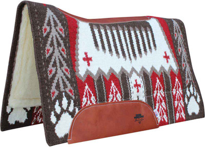 """BearPaw Cherry;  Custom designed New Zealand wool hand-woven blanket top. Contoured with leather reinforced spine and wither. Air Ride shock-absorbing insert for impact protection and comfort. 3/4"""" core. High-quality merino wool bottom protects and wicks away moisture."""