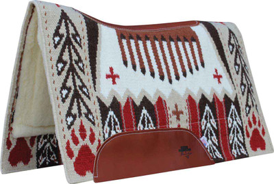 """BearPaw Oat;  Custom designed New Zealand wool hand-woven blanket top. Contoured with leather reinforced spine and wither. Air Ride shock-absorbing insert for impact protection and comfort. 3/4"""" core. High-quality merino wool bottom protects and wicks away moisture."""