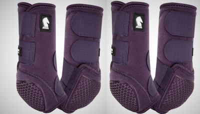 Color: Eggplant.  Introducing the latest innovation in the Legacy Boot lineup.  The Classic Equine Legacy Flexion technology provides the Fetlock Cradle System using individual abrasive resistant cells with impact and wear protection never before seen in equine leg protection. Each Flexion cell can move and stretch individually.