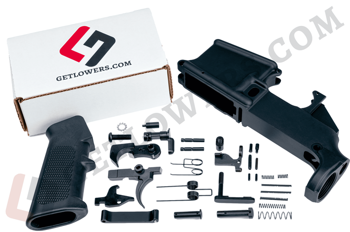 glcom AR-15 80percent Lower Receiver and Complete Lower Parts Kit c/w Grip and Trigger Group