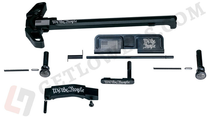 """15-piece Engraved """"WE THE PEOPLE"""" AR15 Parts Kit with Extended Pins & Trigger Guard and Charging Handle Assembly"""
