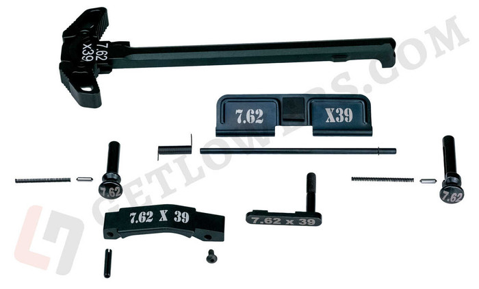 """""""7.62x39"""" Black Engraved Charging Handle Assembly and 15-Piece AR15 Parts Kit with Extended Pins & Trigger Guard"""