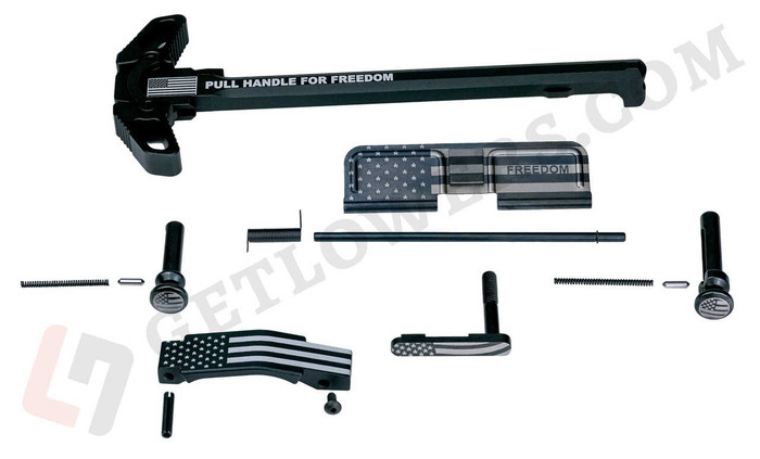 """""""PULL FOR FREEDOM"""" Engraved Charging Handle Assembly and American Flag AR 15 Parts Kit with Extended Pins & Trigger Guard"""
