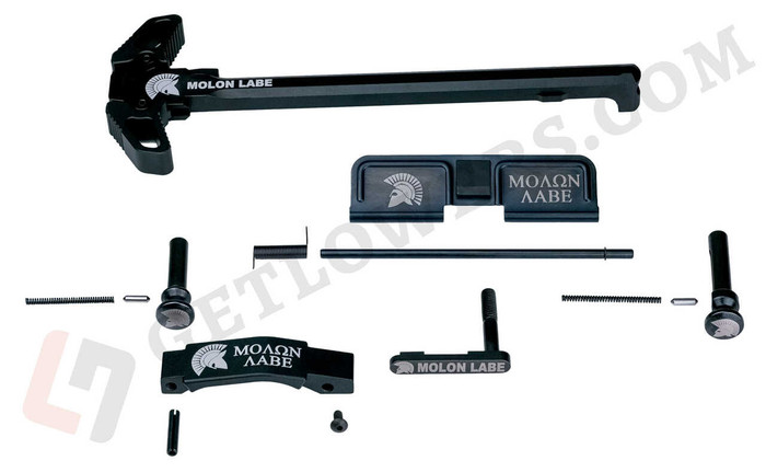 """""""MOLON LABE"""" Black Spartan AR15 Engraved Charging Handle Assembly and 15-Piece Parts Kit with Extended Pins & Trigger Guard"""