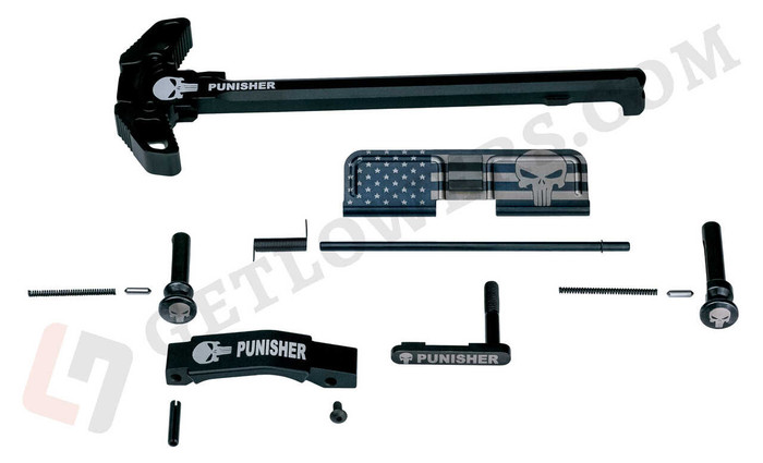 Punisher AR15 Parts Kit with Extended Pins & Trigger Guard and Black Engraved Charging Handle Assembly