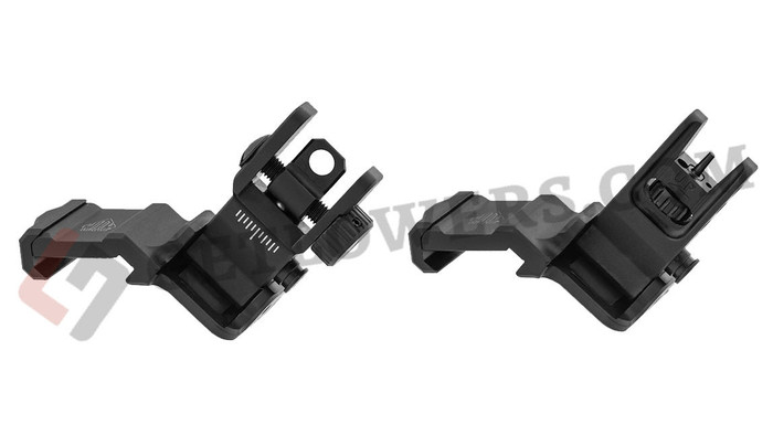 UTG UTG ACCU-SYNC 45-Degree Offset Flip-Up Iron Sight Set - Laser-Engraved, Mil-Spec Black Anodized