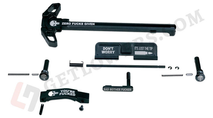 """""""ZERO F*CKS GIVEN"""" Black Laser Engraved AR15 Parts Kit with Extended Pins & Trigger Guard, and Charging Handle Assembly"""