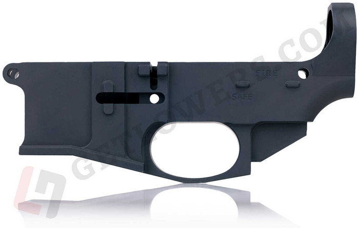 One Black AR15 80% Billet Lower Receiver With Fire/Safe Engravings From Left Side