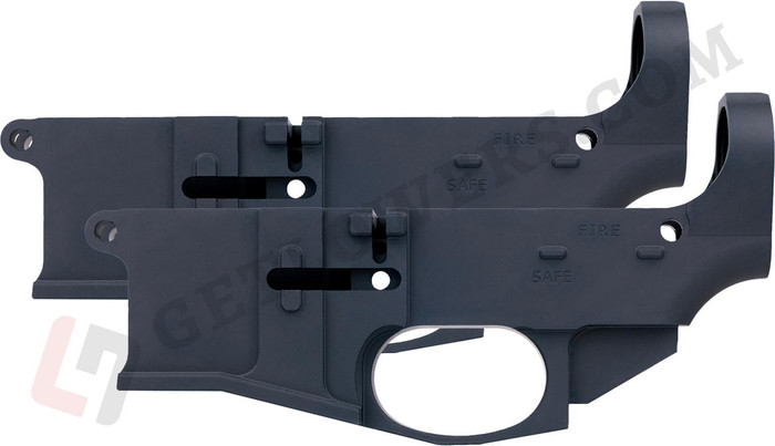 Two Black AR15 80% Billet Lower Receivers With Fire/Safe Engravings From Left Side