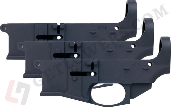 Three Black AR15 80% Billet Lower Receivers With Fire/Safe Engravings From Left Side