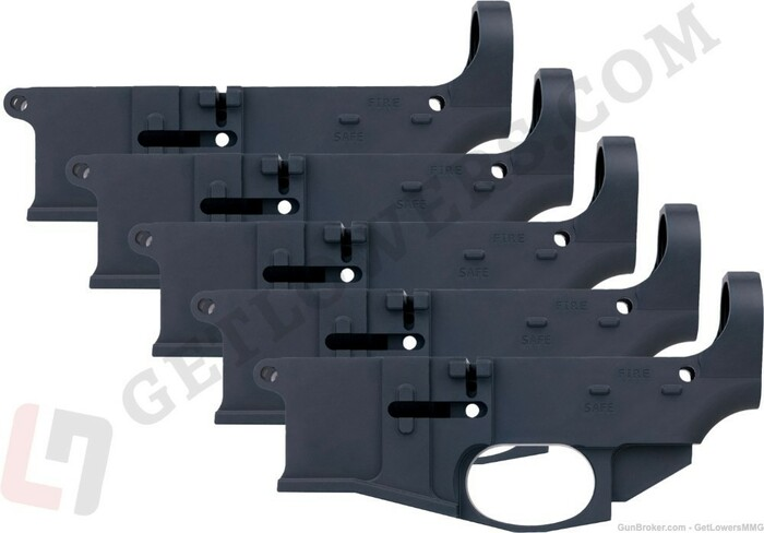 Five Black AR15 80% Billet Lower Receivers With Fire/Safe Engravings From Left Side