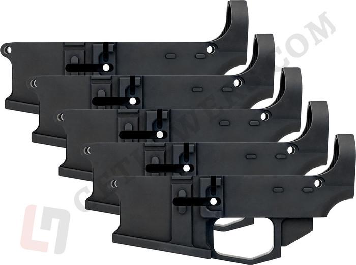 glcom AR15 80percent Lower Receiver 5-Pack - Billet Aluminum, Enhanced, Milspec Black Anodized