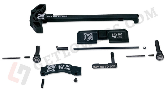 """""""SAY NO TO JOE"""" Black Engraved Charging Handle Assembly and 15-Piece AR15 Parts Kit with Extended Pins & Trigger Guard"""
