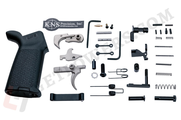 AR-15 80% Lower Receiver Kit With Trigger Group, Pistol Grip, Hammer, Takedown Pin, Anti-Walk Pins, and More!